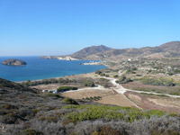 The area Ellinika where the ancient sunk city if located and the small island of Agios Andreas